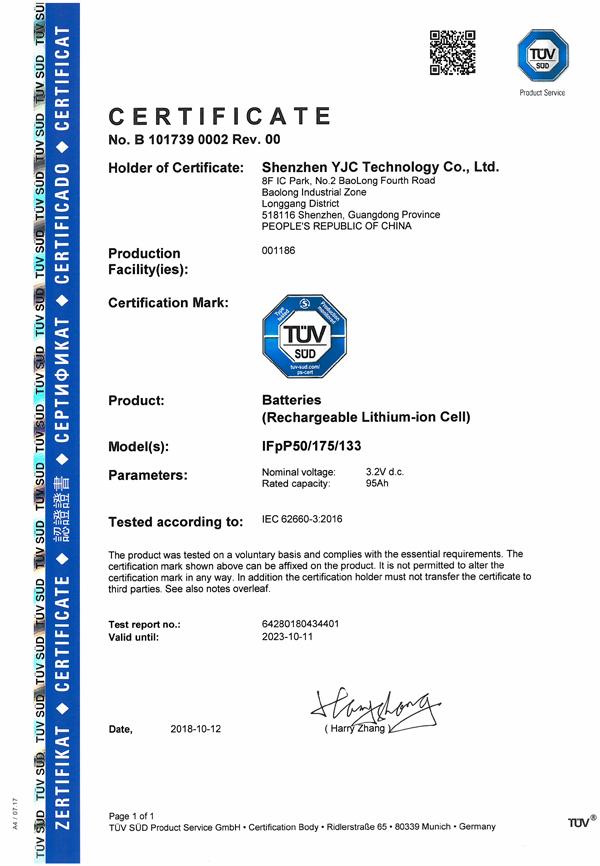 Certificato Batterie